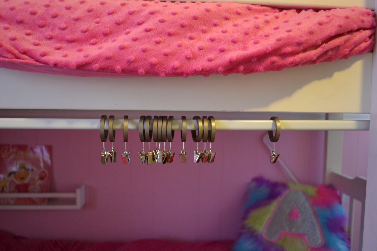 Mount Your Tension Rod To The Bunk Bed