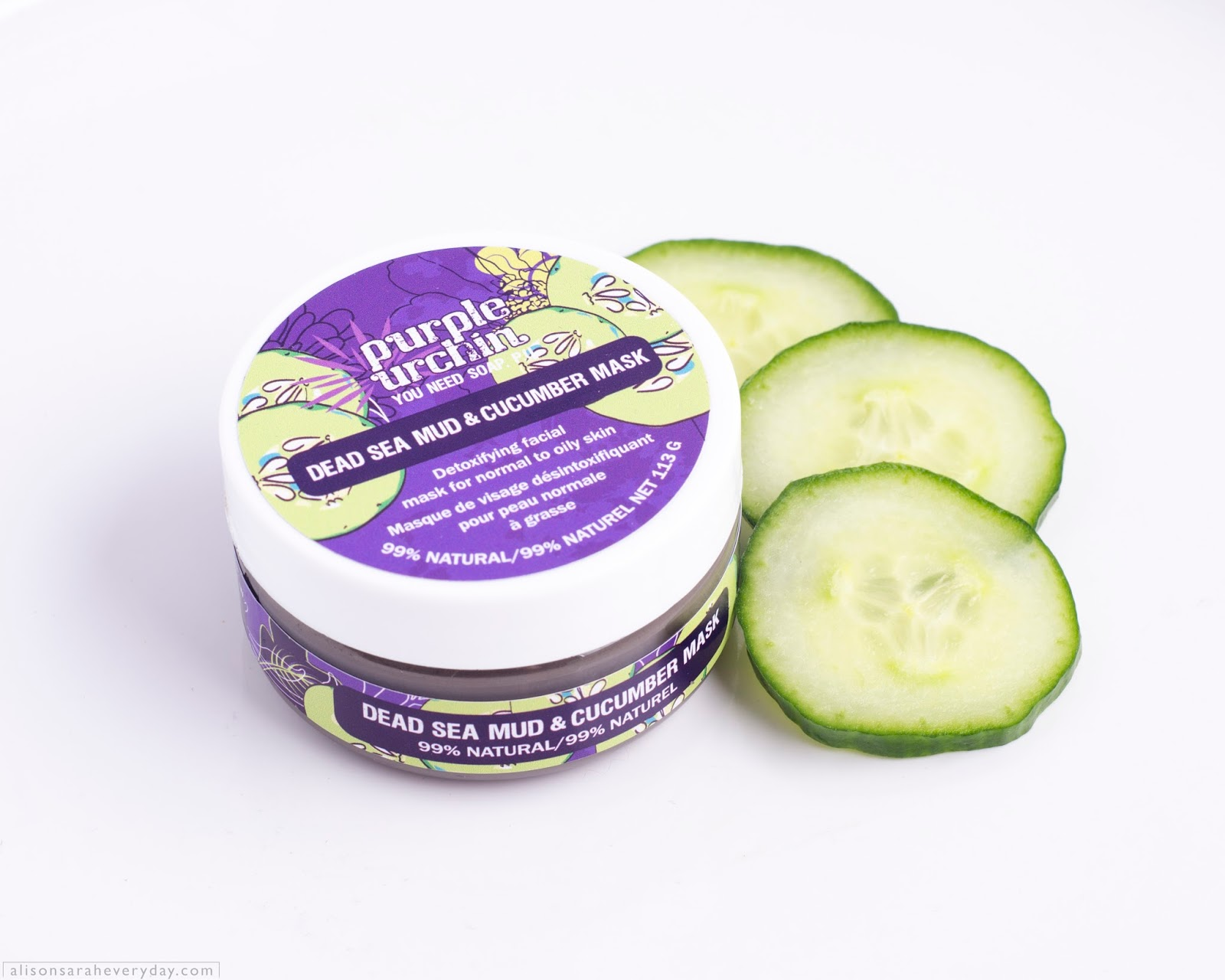 Purple Urchin Dead Sea Mud & Cucumber Mask view from the side with cucumber slices