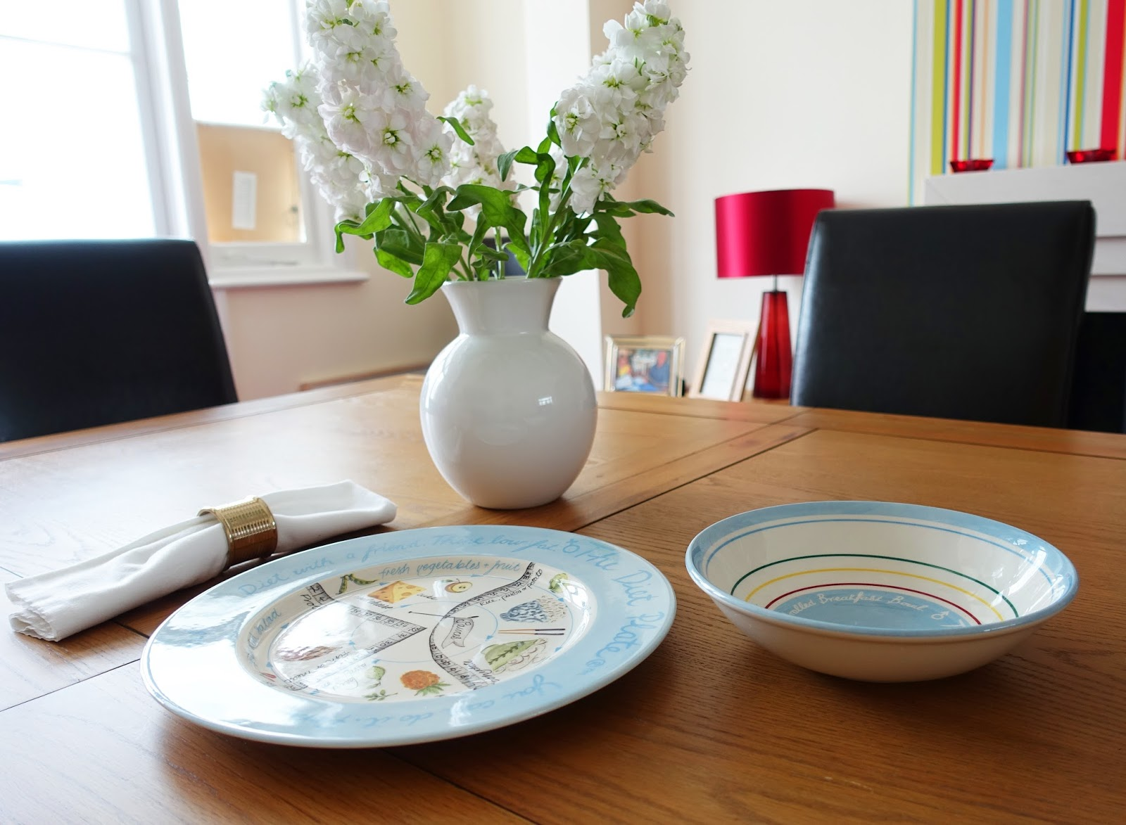 The Diet Plate and cereal bowl shown on a dining room table. Copyright: Gail Hanlon