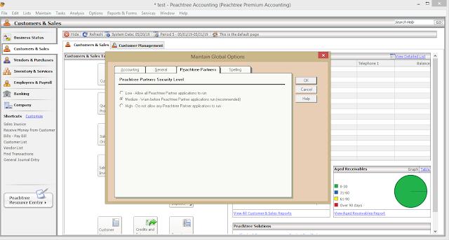 peachtree - ضبط اعدادات الشركة -- Sage Partners Tab- الدرس 3