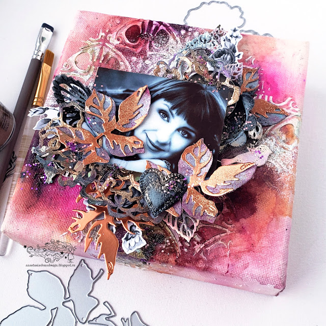 @nastyalena #mixedmedia #mixedmediaart #canvas #scrapbookingdies