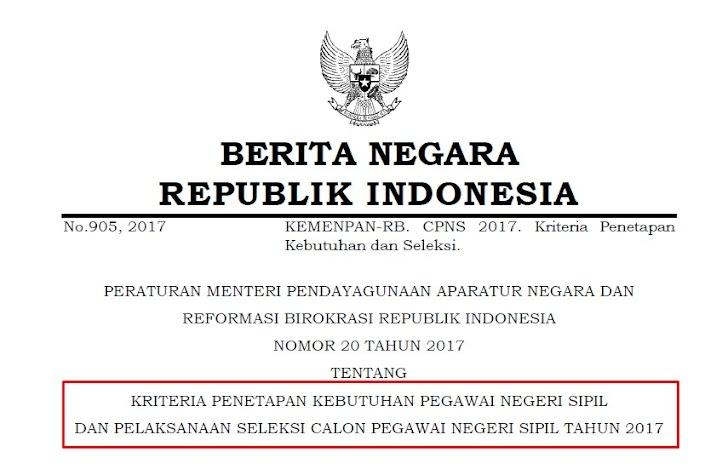 Kriteria Penetapan Kebutuhan PNS dan Pelaksanaan Seleksi CPNS 2017