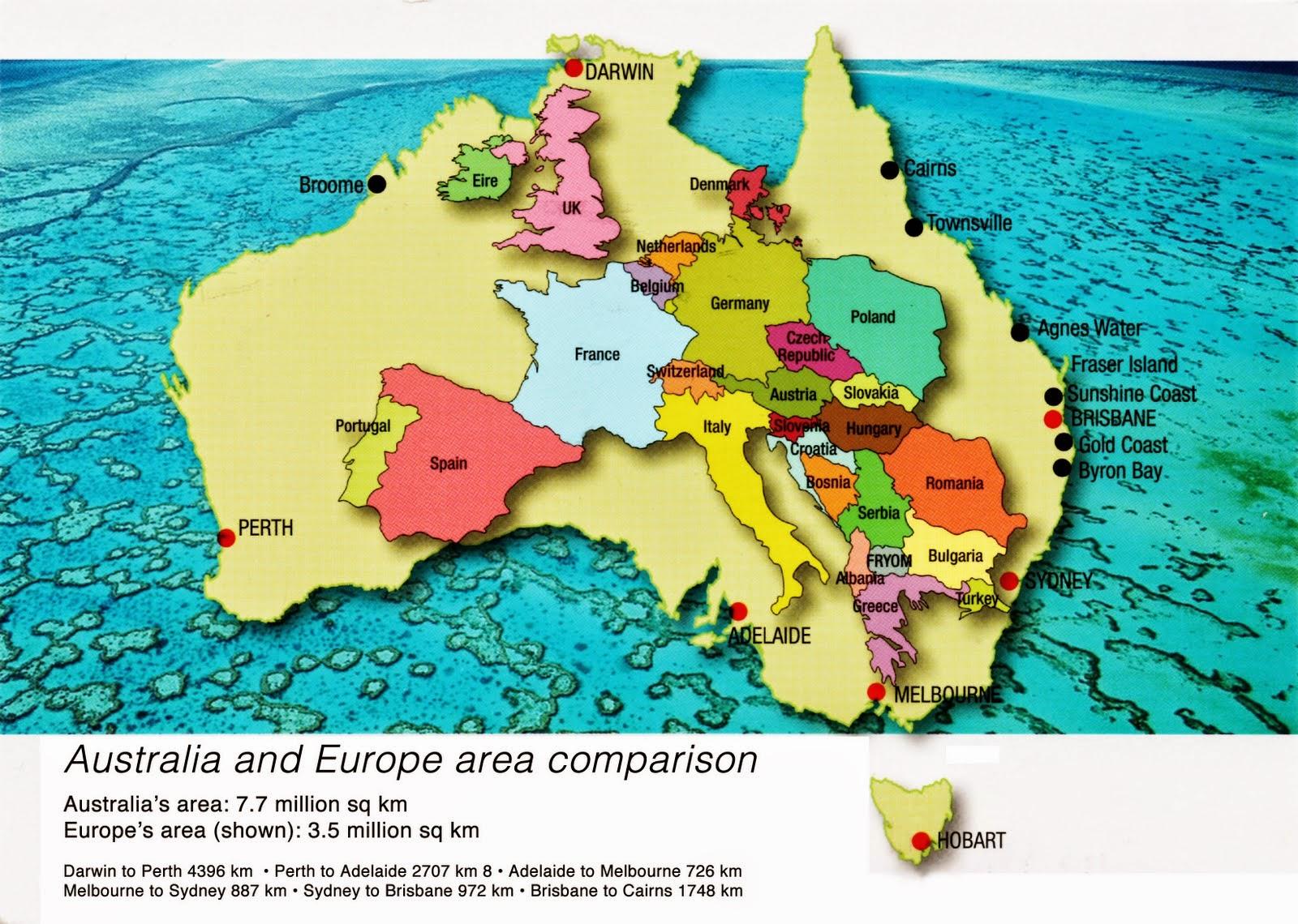 территория Европы по сравнению с Австралией