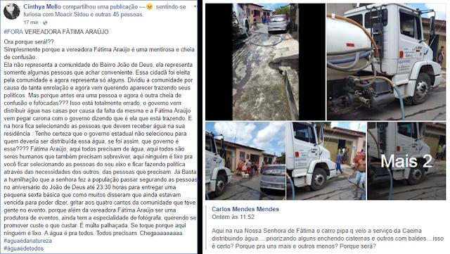 População denuncia uso eleitoreiro na distribuição de água na Capital