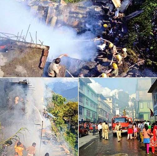 Major fire at Deorali bazaar Gangtok Kills 8 Year Old girl