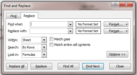 Find and Replace dialog box in Excel