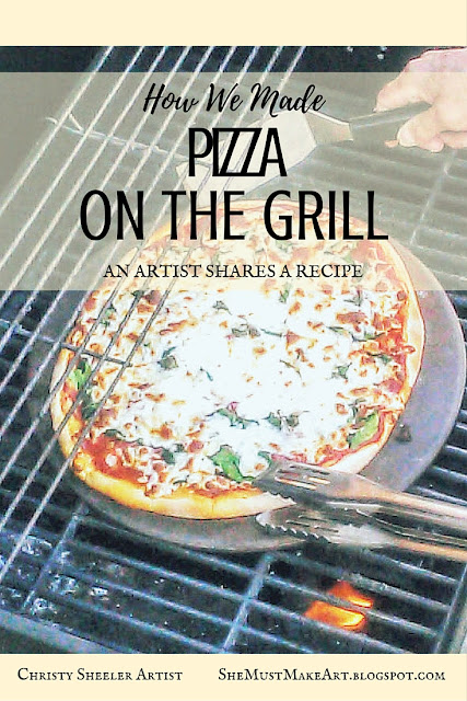 Our adventures in making pizzas on the grill.  A freshly grilled pizza, cooking on the pizza stone, on the grill.