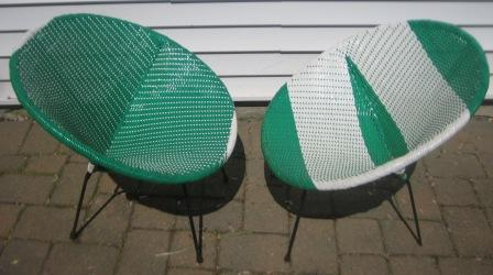 woven plastic garden chairs gold's gym exercise chair nicole wood interiors sold mid century saucer outdoor