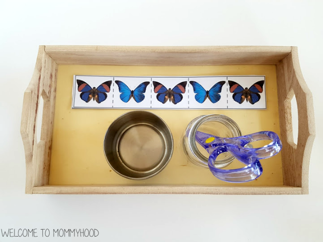 Practical life activities: free butterfly themed cutting strips - perfect for spring by Welcome to Mommyhood #montessori, #preschoolactivities, #practicallife