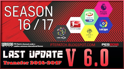 PES 2016 Last Update Transfer 2016/2017 For PTE Patch 6.0