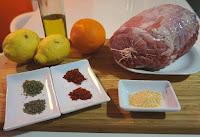 Roti de cerdo al horno, jamón asado.
