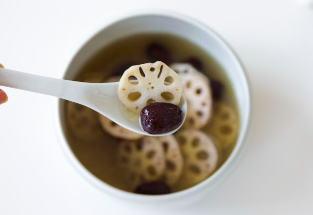 Bone broth soup with lotus root and jujubes