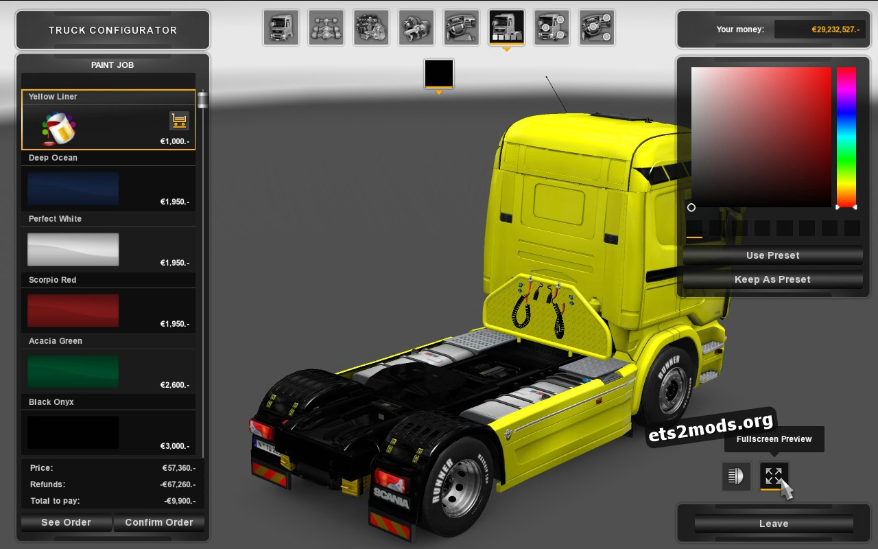 Yellow Liner Skin for Scania RJL