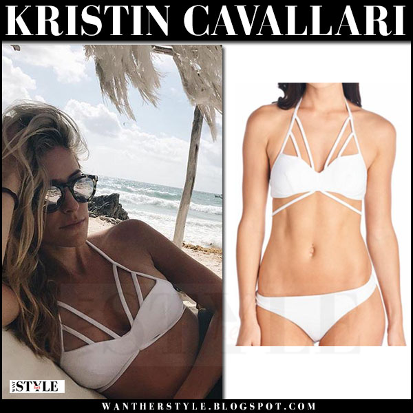 Kristin Cavallari in white bikini and mirrored illesteva sunglasses what she wore beach march 2017