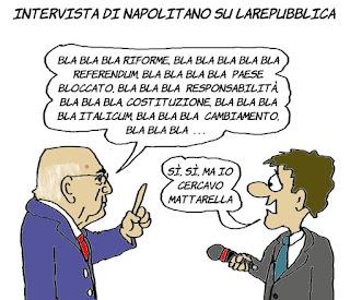 Napolitano, italicum, riforme, referendum, intervista, vignetta, satira