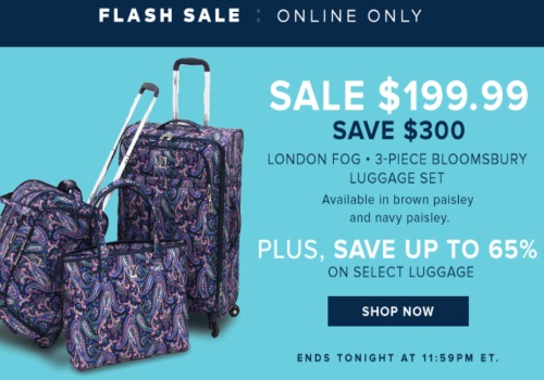 Hudson's Bay Flash Sale London Fog 3-Piece Luggage $300 Off + Up To 65% Off Select Luggage