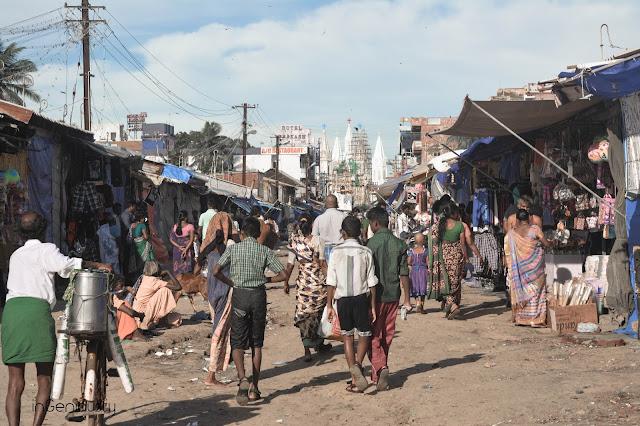 market, people, retro, tamilnadu, velankanni