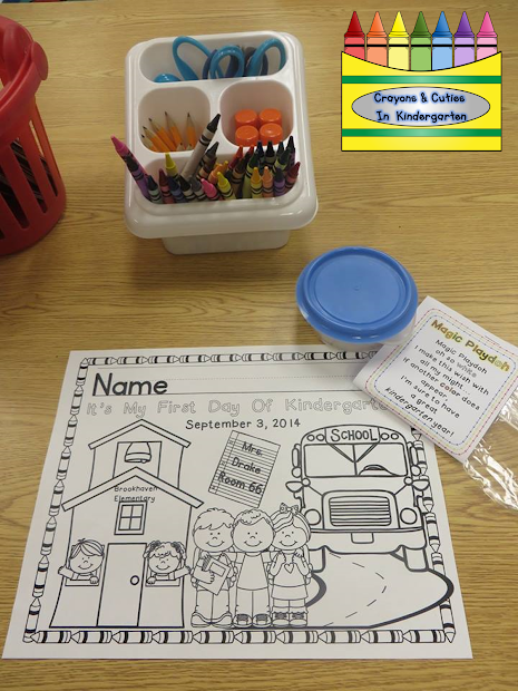 Crayons & Cuties In Kindergarten Day Of School Coloring Page