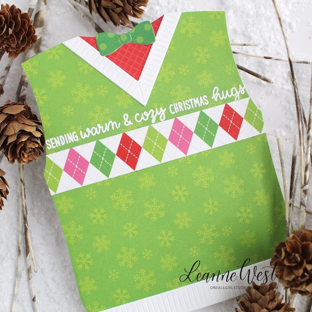 Sunny Studio Stamps: Build-A-Tag Warm & Cozy Fancy Frames Mug Hugs Sweater Vest Loopy Letter Dies Winter Themed Cards by Leanne West
