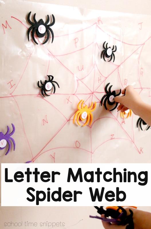 spider web alphabet matching game