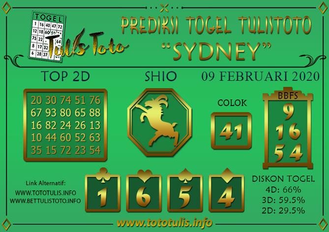 Prediksi Togel SYDNEY TULISTOTO 09 FEBRUARI 2020