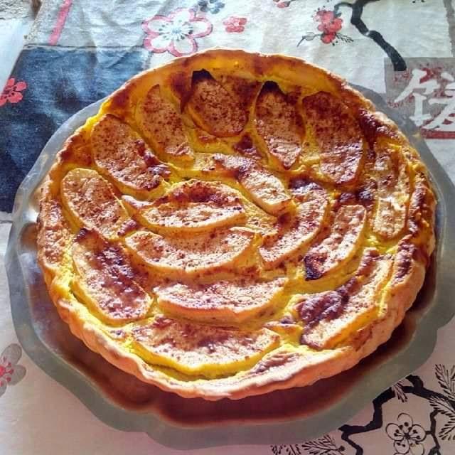 Tarta de manzana con requeson
