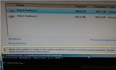 Pernah saya mengalami hal ini di mana dikala saya akan menginstall harddisk gres Cara Mengatasi Setup Was Unable To Create A New System Partition Or Locate An Existing System Partition