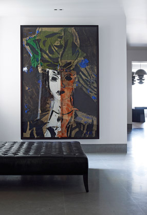 Colorful modern painting in Paris apartment interior design by Piet Boon