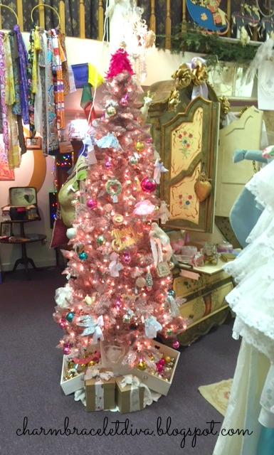 pink Christmas tree with vintage ornaments