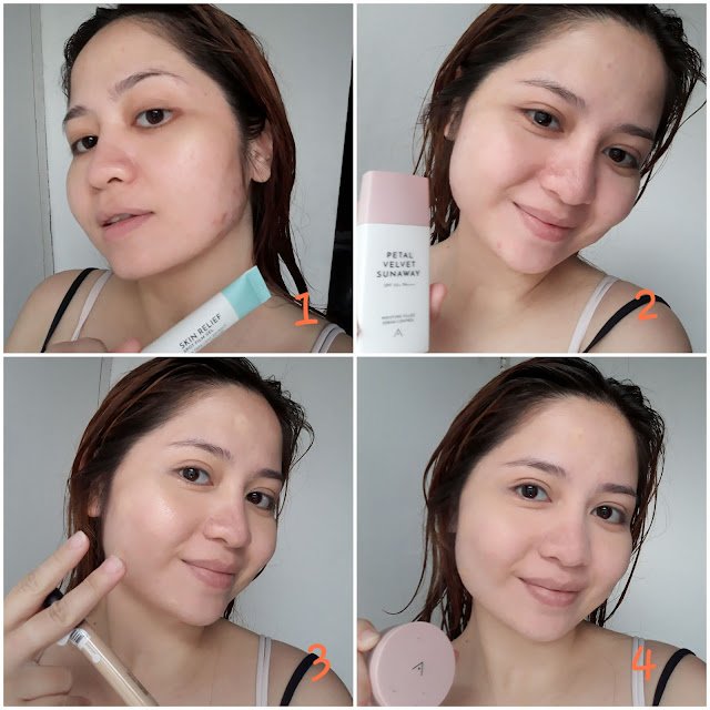 Apply Althea Spot Film Gel on pimples and let it dry completely. Put on sunblock, Althea Petal Velvet Sunaway. Hide the raccoon eyes and brown spots with Althea Flawless Creamy Concealer in #2. Set it all by patting on Althea Petal Velvet Powder. Brush on BCL x Althea eyeshadow. 3rd pan all over lid, and 7th pan on the crease and outer V (both are pinks). Put on eyebrow powder, then mascara on lashes. Apply Althea Spotlight Eye Glitter #2 in upper lash line, and on outer half of lower lash line. Finish with Althea Watercolor Cream Tint #3 on lips and cheeks.