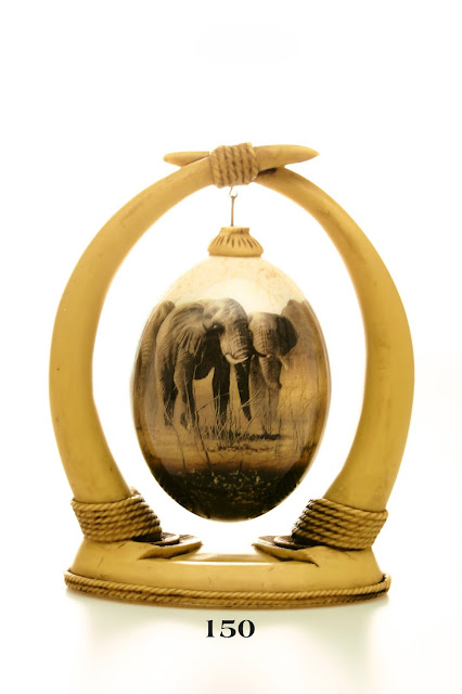Ostrich Eggs Decoupage - Elephant hanging from tusk