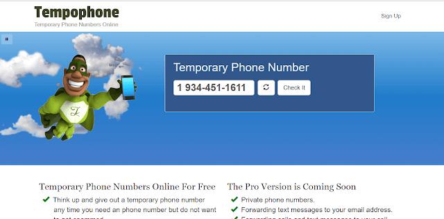 الحصول على رقم هاتف وهمي مؤقت مع موقع Tempophone
