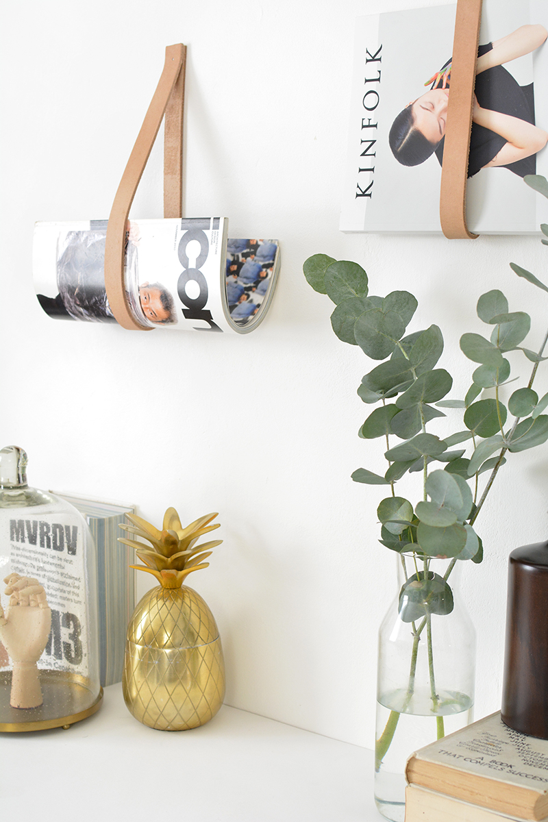 DIY leather strap magazine hanger