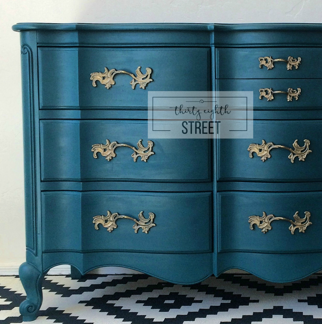 Painted dresser in peacock blue thirty eighth street for How to paint my bedroom furniture