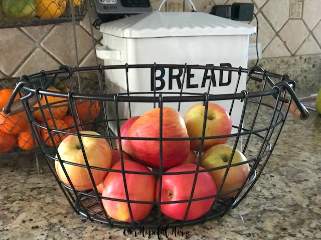 apples fresh produce wire basket kitchen pantry storage