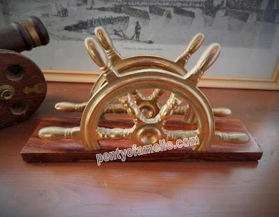 Vintage Letter Envelope Stand office desk. Nautical Brass Ship steering wheels on wooden base.