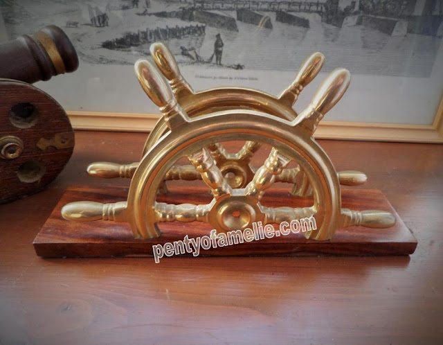 Vintage Letter Envelope Stand office desk. Nautical Brass Ship steering wheels on wooden base.