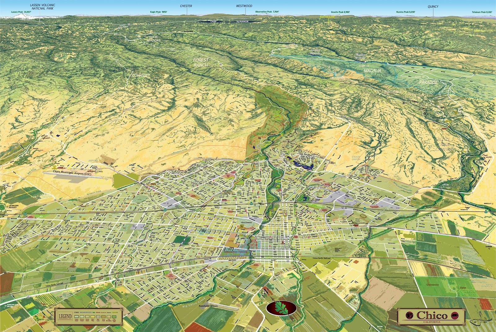 Mapa Jeff Cartography Chico California Panoramic Map