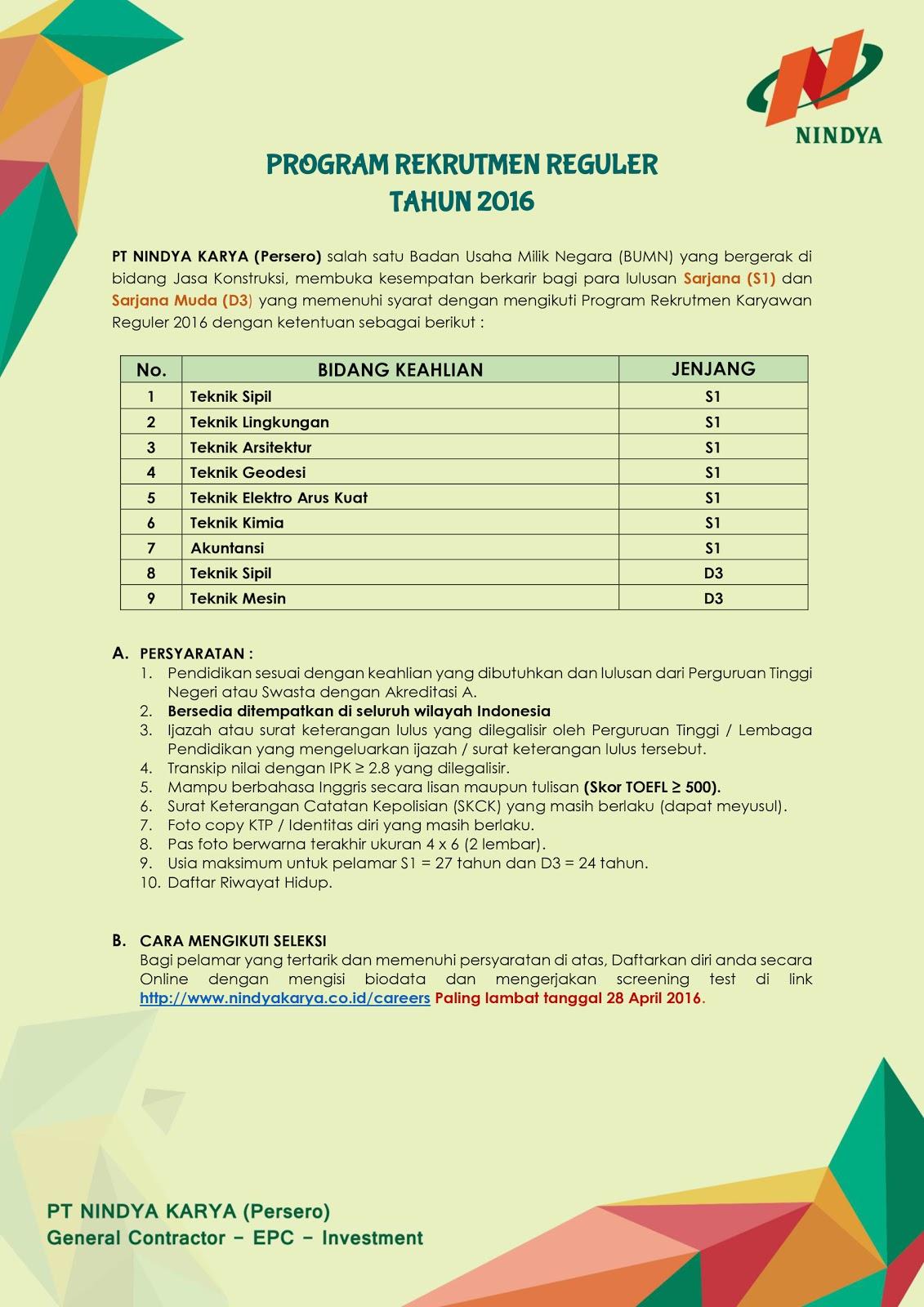 PT.Nindya Karya (Persero) - Rekrutmen Reguler Tahun 2016