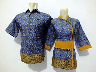 Model Baju Batik Kantor Kombinasi Polos