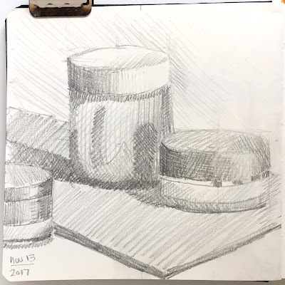 Daily Art 11-13-17 still life sketch in graphite - jars