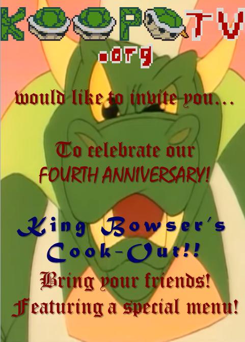 King Bowser's Cook-Out!! chef BBQ Koopa KoopaTV KoopaTV.org barbeque fourth anniversary invitation card