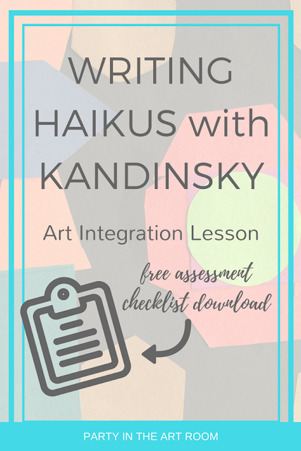 Here's a great arts integration lesson plan for teaching writing with Kandinsky. Includes free resource download. From Party in the Art Room.