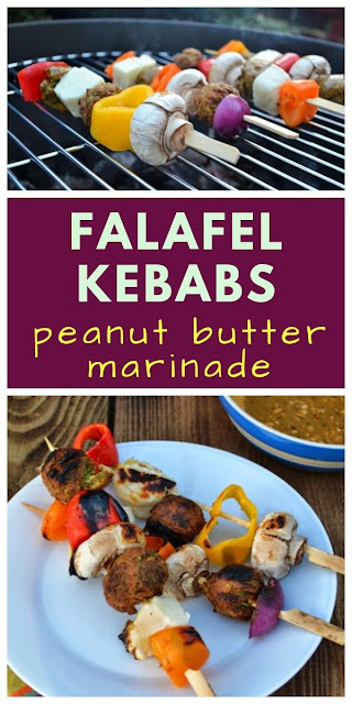 Falafel & Halloumi Kebabs with Spiced Peanut Butter Marinade. The marinade is great on burgers and sausages too. #BBQ #BBQmarinade #vegetarianBBQ #veggieBBQ #skewers #BBQskewers #halloumi #halloumicheese #falafel #peanutbutter #peanutbuttermarinade
