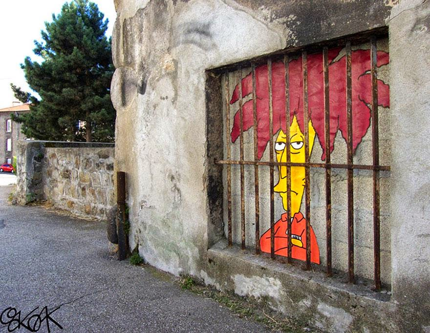 28 Pieces Of Street Art That Cleverly Interact With Their Surroundings - Sideshow Bob, France
