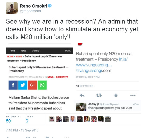 """Omokri yabs presidency for saying Buhari spent """"only"""" N20m on ear infection"""