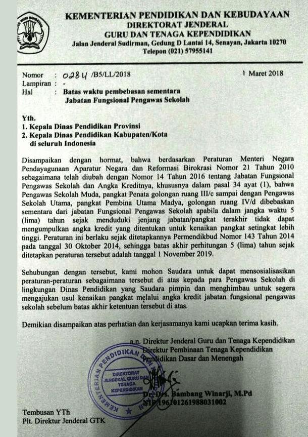 Surat Edaran Dirjen GRT Nomor 0284/B5/LL/2018 Tentang Waktu Pembebasan Sementara Jabatan Fungsional Pengawas Sekolah