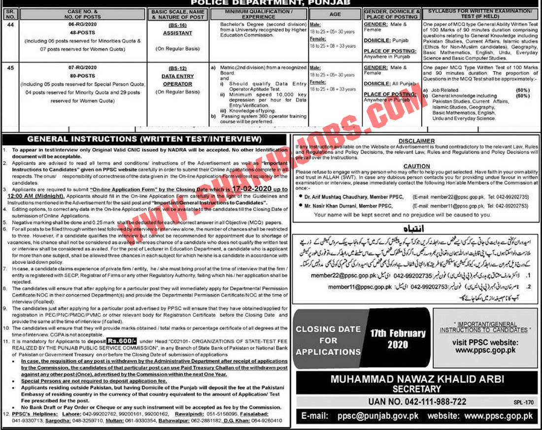 Punjab Police Jobs For Male and Female Jobs 2020