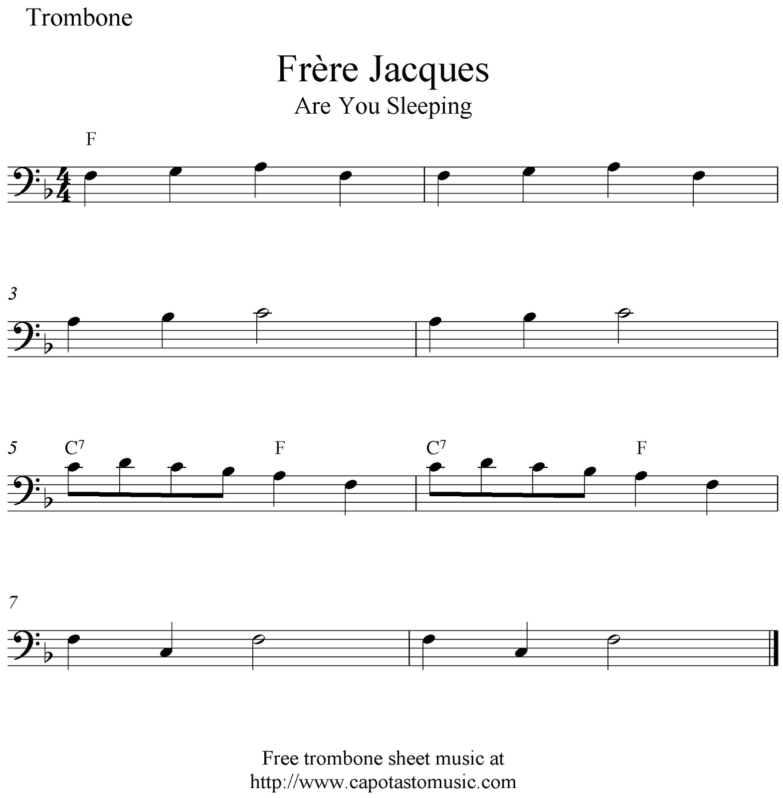 photograph relating to Free Printable Trombone Sheet Music called Frère Jacques (Are Oneself Sleeping), absolutely free trombone sheet new music