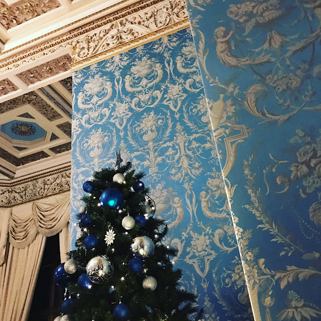 Silk walls in The Blue Room at Thoresby Hall in Nottinghamshire